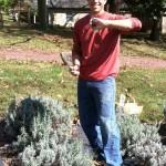 Frank shows off his lavendar haul.