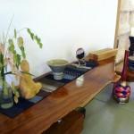 The sesshin kamiza with wild oats from Roman's garden.