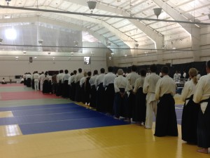 In line to pay our respects to Chiba Sensei at the kamiza, at the end of the chanting service.