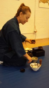 Katherine Heins Sensei practices tea ceremony at Fire Horse Aikido on June 5, 2016.