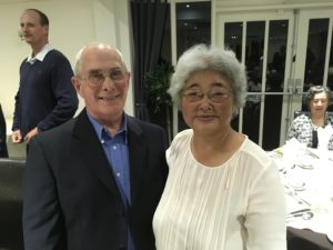 Mrs. Chiba and Eric Beake of London Aikikai at the special memorial dinner in Birmingham, Oct. 8, 2016.