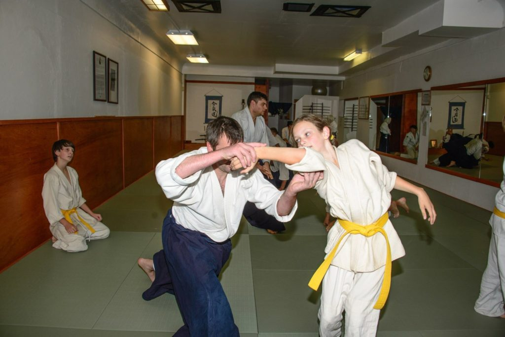 Uke: Iris of Grass Valley Aikikai. Nage: Scott McSpadden Sensei. Watching waza: Liam from Grass Valley Aikikai.