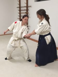 Practicing good form while learning Shihonage.